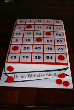 Bingo Card Cake Happy Birthday, 70th Birthday, Birthday Parties, Birthday Cakes, Bingo Cake, Bingo Party, Cupcake Cakes, Cupcakes, Novelty Cakes