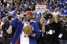 """ALLEN """"A.I., THE ANSWER"""" IVERSON was in the house @ the Wells Fargo Center tonight, as the Sixers honored him with another commemorative bobblehead doll giveaway and played the Bob Cats. Philly showed A.I. much love and they won the game! What a night! YGB!"""