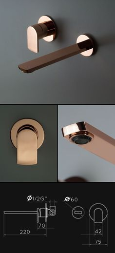 UK suppliers of designer gold bathroom taps in latest contemporary styling. These gold taps include basin taps, bath fillers & matching shower fittings. Copper Bathroom, Bathroom Taps, Bathroom Fixtures, Bathroom Artwork, Copper Taps, Gold Taps, Restauration Hardware, Color Cobre, Wall Mounted Basins