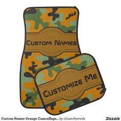Custom Names Orange Camouflage Personalized Car Mat