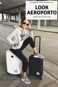 Christine Andrew + simple but stylish + grey Adidas hoodie + black joggers + grey sneakers + sporty chic style + perfect for travelling long journeys Sweater: Adidas. outfit Travel Outfits Airport style: How To Look Fashionable During Travel Sporty Chic Style, Sport Chic, Look Chic, Casual Chic, Sporty Chic Outfits, Casual Athletic Outfits, Athletic Shoes, Athletic Style, Athletic Fashion
