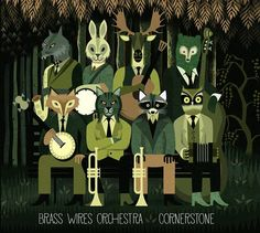 "No Play: ""Cornerstone"" – Brass Wires Orchestra Art And Illustration, Illustrations Posters, Orchestra, Typography Design, Lettering, Green And Grey, Liberty, Images, Brass"