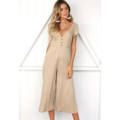 7547a0733fe Sexy v neck wide leg jumpsuit for women 2018 Summer fashion short sleeve  khaki rompers womens
