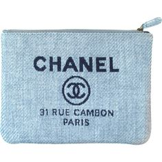 Pre-Owned Chanel Clutch - CC Logo Canvas Deauville Blue Ocase Bag Zip... ($899) ❤ liked on Polyvore featuring bags, handbags, clutches, blue, colorful purses, canvas purse, chanel clutches, blue purse and colorful clutches