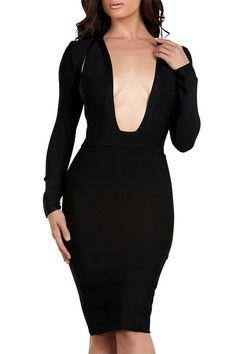 Posh Girl Donatella Black Bandage Open Back Dress Slit Dress, Bodycon Dress, Women's Evening Dresses, Posh Girl, Open Back Dresses, Contemporary Fashion, Clubwear, Fashion Forward, Celebrity Style