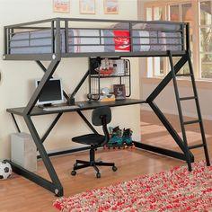 quarto planejado com cama em cima e mesa de trabalho em baixo