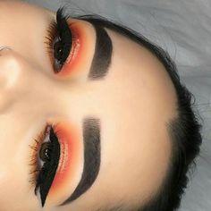 Orange shimmer eye makeup