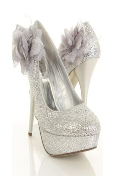 Silver Glitter Flower Accent Closed Toe Shimmer Heels