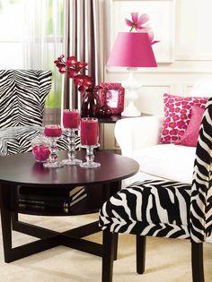 Hot Pink,Black,Zebra print,Fun pretty room!
