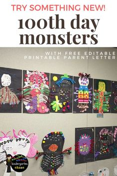 day of school ideas: create a monster. with free printable & editable parent letter. 100 Day Project Ideas, 100 Day Of School Project, 100 Days Of School, School Holidays, School Projects, School Ideas, Kindergarten Projects, Kindergarten Classroom, Kindergarten Graduation