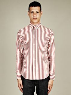 Acne Men's Isherwood Striped Shirt in red stripe at oki-ni