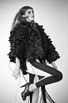 Deconstructed jacket with fringe collar