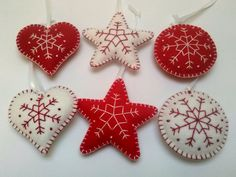 Felt christmas ornaments - set of 6 snowflake embroidery ornaments white and red / wool blend felt  Listing is for 6 ornaments ( 2 hearts, 2 stars and