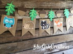 Woodland Party Banner Baby Shower Birthday Party Hedgehog