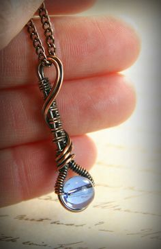 Copper Wire Weaved Pendant with Blue Druk by AllowingArtDesigns, $26.00