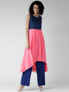 GERUA Navy & Pink Colourblocked High-Low A-Line Kurta