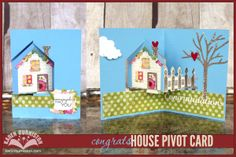 Karen Burniston's card featuring her new House Pivot Card die ..... we will be carrying this fun die! SImple Pleasures Stamps and Scrapbooking.
