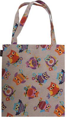 Ihanat värikkäät pöllöt ostoskassissa, tehty tilauksesta! :)  www.cosecha.fi