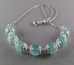 Blue Chalcedony Sterling Silver Necklace  N428 by TheSilverBear, $68.00