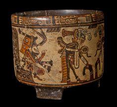 Tripod Cylinder Vessel. Ulúa Polychrome, Nebla class, c. 750-850 CE. Ulúa River Valley, Honduras.