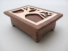 Wood Keepsake Box - Tree of Life Design in Black Walnut Wood with Maple Inlay Lid - Timber Green Woods. $75.00, via Etsy.