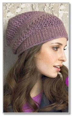 Slouchy beanie features simple lace in a sweet tweedy shade Free Knitting Patterns For Women, Crochet Patterns, Knitting Ideas, Knitting Socks, Knitted Hats, Knit Socks, Knit Crochet, Crochet Hats, Knit Headband Pattern