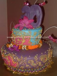Homemade Bollywood Bling Henna Design Cake: This Homemade Bollywood Bling Henna Design Cake was specially made for my Bolloywood mad cousin's 30th birthday.  She loved purple so I based it around