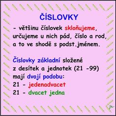 SKLOŇOVÁNÍ ČÍSLOVEK :: Béčko-Tc Education, School, Literatura, Schools, Teaching, Onderwijs, Learning