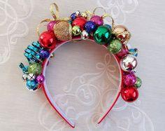 christmas headband adult ornament headband tacky by TinseledTiara Christmas Headpiece, Christmas Hair Bows, Red Christmas, Christmas Crafts, Christmas Decorations, Diy Christmas Headbands, Xmas, Diy Ugly Christmas Sweater, Tacky Sweater