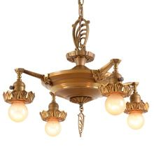 Original Duo--Toned Eclectic Pan Chandelier C1930 | Restored Lighting, Antiques & Vintage Finds from Rejuvenation
