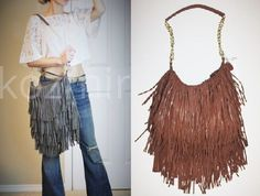 LOST & FOUND FRINGE BAG Brown Leather 70s Boho Crossbody Hippie Shoulder Purse #LostandFound #MessengerCrossBody