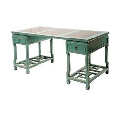 "Large Lattice Desk W/Marble   Elm  63"" W x 32"" D x 32"" H  Finish/Color(s): Aqua"
