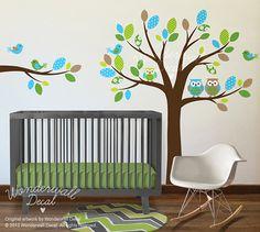 Vinyl Wall Decal Stickers Owl Tree Set Nursery por WonderwallDecal