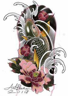 Koi Tattoo Design, Japan Tattoo Design, Japanese Koi Fish Tattoo, Japanese Tattoo Designs, Dragon Tattoo Colour, Koi Tattoo Sleeve, Koi Fish Designs, Koi Dragon, Dinosaur Tattoos
