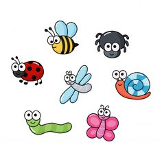 Set of funny bugs. Art Drawings For Kids, Drawing For Kids, Easy Drawings, Art For Kids, Bug Cartoon, Cartoon Drawings, Animal Drawings, Happy Cartoon, Bugs Drawing