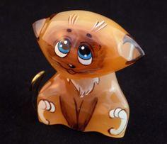 #Selenite #figurine #Siamese #kitten #Cat #hand #painted on #natural #stone