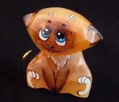 #Selenite #figurine #Siamese #kitten #Cat #hand #painted on #natural #stone