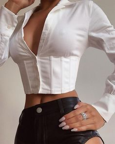 Solid Collared Corset Top Women Slim Fit Long Sleeve T Shirt Streetwear Turn Down Collar Solid Lace Up Blusa Mujer, White / XL Dress Pattern Free, Dress Patterns, Mode Outfits, Fashion Outfits, Fashion Clothes, Fashionable Outfits, Dressy Outfits, Stylish Outfits, Cropped Tank Top