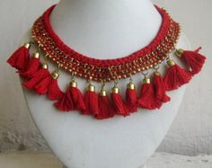 CHRISTMAS SALE 20% OFF Statement Necklace/Red Necklace/Tassel Necklace/ Necklace/Bib Necklace/Crochet Necklace/Chunky Necklace