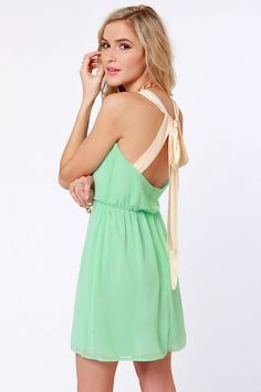Ash and Lauren, this is ADORABLE!! Cute Mint Green Dress - Backless Dress - $42.00