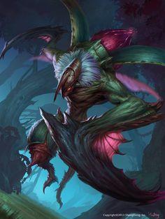 Praying Mantis by Han Bing on ArtStation. Monster Concept Art, Fantasy Monster, Monster Art, Mythical Creatures Art, Alien Creatures, Fantasy Creatures, Creature Concept Art, Creature Design, Dark Fantasy Art