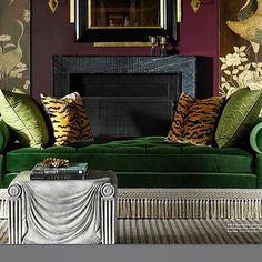 Alexa Hampton, designing magic with our Scalamandre Tiger Silk Velvet pillows.