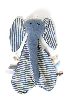 Denim Blue Security Blanket/ Lovey Baby Blanket Gray Elephant / security toy/ baby shower gift/  Baby Christmas Gift/new baby gift