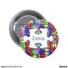 Jigsaw Kids Name Button