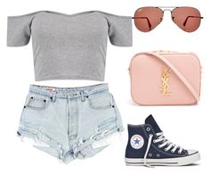 """""""Summer"""" by angie81602 on Polyvore featuring Ray-Ban, Boohoo, Converse and Yves Saint Laurent"""