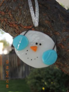 Fused glass snowman - wire connection idea