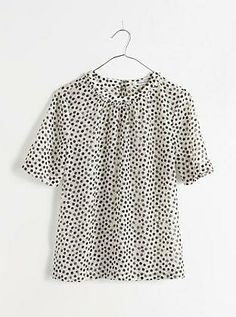 Madewell shirred top in stamp dot.