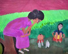 ELZA DE OLIVEIRA SOUZA - (1928 - 2006)    Título: Figuras  Técnica: óleo sobre eucatex  Medidas: 50 x 60 cm  Assinatura: canto inferior esquerdo
