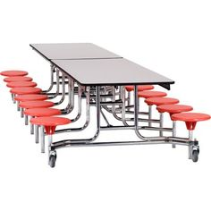 "National Public Seating Mobile Stool 145"" x 59"" Rectangular Cafeteria Table"