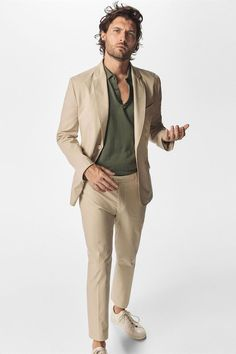 Khaki men suits slim fit blazer casual simple classic jacket for wedding party prom street male suit men& tuxedos pants 2 sets Linen Suits For Men, Prom Suits For Men, Khaki Suits, Beige Suits, Groomsmen Suits, Mens Suits, Suit Men, Casual Suit, Wedding Outfits